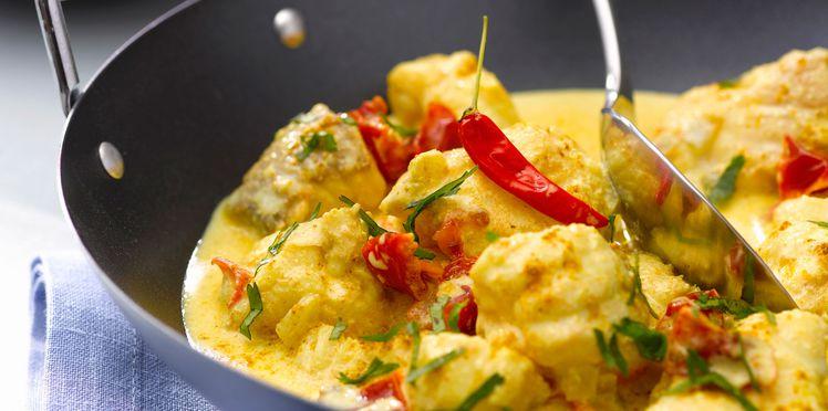 Les recette de la poissonnerie Morin Marée à Albi : curry de lotte aux poivrons et lait de coco