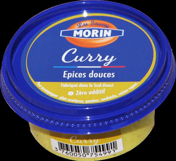 Sauce curry 60g Les Sauce Morin - sauce froide exotique aux épices douces pour accompagner plats exotiques, gambas, sandwichs, cuisine vapeur - curry